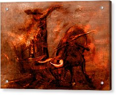 Bullfight Acrylic Print by Kim Gauge