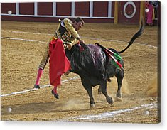 Bullfighter Manuel Ponce Performing The Estocada To Kill The Bull Acrylic Print