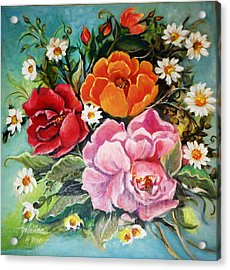 Acrylic Print featuring the painting Bunch Of Flowers by Yolanda Rodriguez