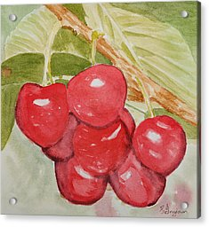 Bunch Of Red Cherries Acrylic Print by Elvira Ingram