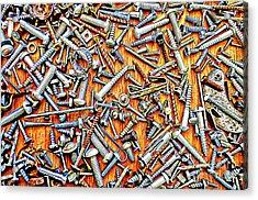 Bunch Of Screws 1- Digital Effect Acrylic Print by Debbie Portwood