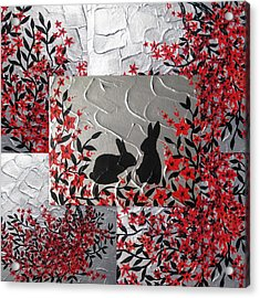Bunnies In Blossom Acrylic Print by Cathy Jacobs