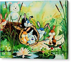 Bunnies Log And Frog Acrylic Print by Hanne Lore Koehler
