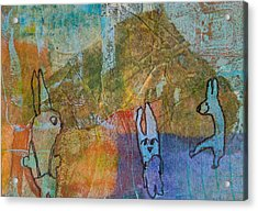 Acrylic Print featuring the mixed media Bunny Ballet by Catherine Redmayne