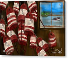 Buoys With A View      Acrylic Print by Christine Fournier