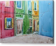 Acrylic Print featuring the painting Burano by Anna Ruzsan
