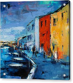 Burano Canal - Venice Acrylic Print by Elise Palmigiani