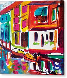 Burano Italy Side Street Sold Original Acrylic Print by Therese Fowler-Bailey