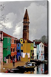 Burano Tower Acrylic Print