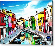 Acrylic Print featuring the painting Burano - Venice - Italy by Ze  Di