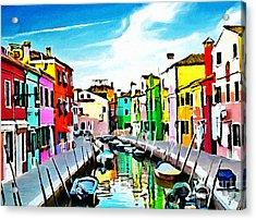 Burano - Venice - Italy Acrylic Print by Ze  Di
