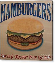 Burger And Bun Acrylic Print by Steven Parker