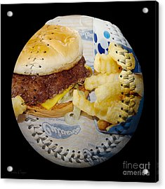 Burger And Fries Baseball Square Acrylic Print by Andee Design