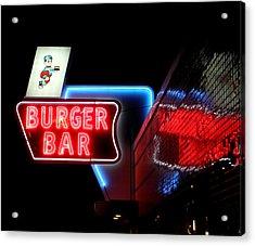 Burger Bar Neon Diner Sign At Night Acrylic Print