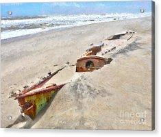 Buried Treasure - Shipwreck On The Outer Banks I Acrylic Print by Dan Carmichael