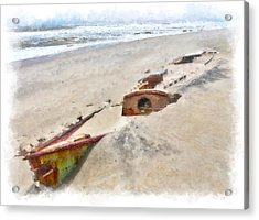 Buried Treasure - Shipwreck On The Outer Banks II Acrylic Print by Dan Carmichael