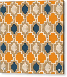 Burlap Blue And Orange Design Acrylic Print
