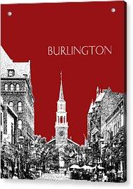 Burlington Vermont Skyline - Dk Red Acrylic Print by DB Artist