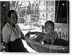Burmese Grandmother And Grandchild Acrylic Print