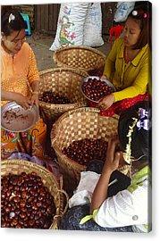 Acrylic Print featuring the photograph Burmese Ladies Sorting Water Chestnuts Zay Cho Street Market 29th Street Mandalay Burma by Ralph A  Ledergerber-Photography