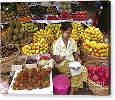 Burmese Lady Selling Colourful Fresh Fruit Zay Cho Street Market 27th Street Mandalay Burma Acrylic Print