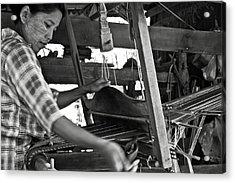 Burmese Woman Working With A Handloom Weaving. Acrylic Print by RicardMN Photography