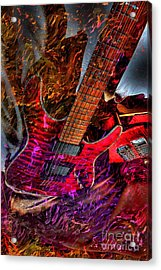 Burnin It Up Digital Guitar Art By Steven Langston Acrylic Print by Steven Lebron Langston