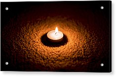 Burning Candle Acrylic Print by Aged Pixel