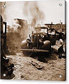 Burning Car Circa 1942  Acrylic Print