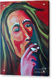 Acrylic Print featuring the painting Burning Marley by Justin Lee Williams