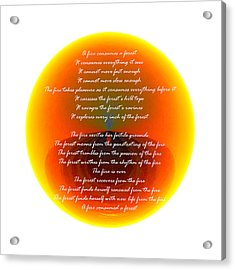 Burning Orb With Poem Acrylic Print by Brent Dolliver