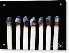 Burnt Matches On Black Acrylic Print