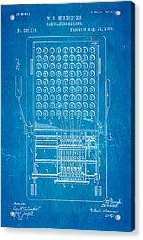 Burroughs Calculating Machine Patent Art 1888 Blueprint Acrylic Print