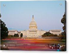 Bus Blur And U.s.capitol Building Acrylic Print by Richard Nowitz