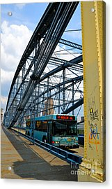 Bus Crossing The Smithfield Street Bridge Pittsburgh Pennsylvania Acrylic Print by Amy Cicconi