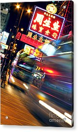 Bus Race In Mong Kok Acrylic Print by Lars Ruecker