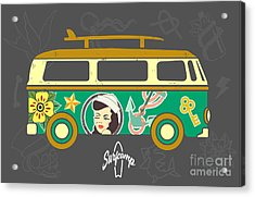 Bus With Surfboard Acrylic Print