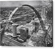 Busch Stadium Bw A View From The Arch Merged Image Acrylic Print