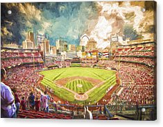 Busch Stadium St. Louis Cardinals Day Paint Acrylic Print
