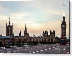 Buses And Tourists Cross The Acrylic Print by Tatyana Tomsickova Photography