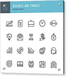 Business And Finance  - Thin Line Icon Set Acrylic Print by Fonikum