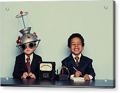 Business Boys Conduct Interview In Acrylic Print by Richvintage