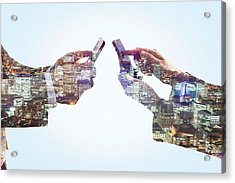 Business Man And Woman Using Smart Acrylic Print by Tim Robberts