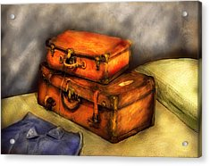 Business Man - Packed Suitcases Acrylic Print by Mike Savad