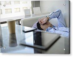 Business Man Sleeping On The Sofa In Office Acrylic Print by Yagi Studio