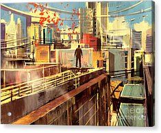 Business Man Standing On The Rooftop Of Acrylic Print by Tithi Luadthong