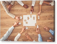 Business People Finding Solution Together At Office Acrylic Print by Fotostorm