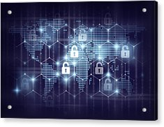 business technology securities concept,Security key lock icon digital display over the world map and Hexagon shape on matrix digital number technology and dark blue background Acrylic Print by Photographer is my life.