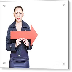 Business Woman Holding Direction Arrow Sign Acrylic Print by Jorgo Photography - Wall Art Gallery