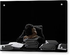 Businessman Asleep At Desk Resting Head On Stack Of Files Acrylic Print by James Woodson